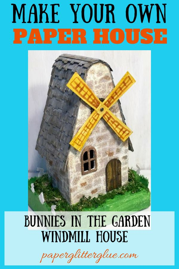 Bunnies in the Garden Springtime at the Miller's Place Putz house - a paper house designed for Springtime or Easter based on the Candy Corn pattern #putzhouse #easter #papercraft