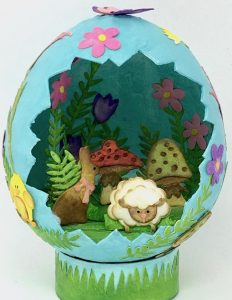 Bunny and lamb flowers paper mache Easter Egg paperglitterglue