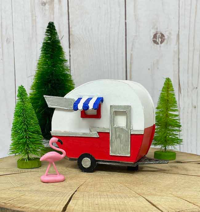 side view red white blue paper camper