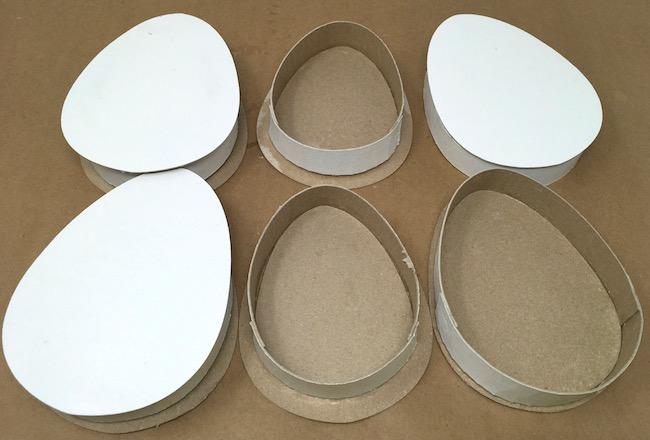 Cardboard egg boxes in progress