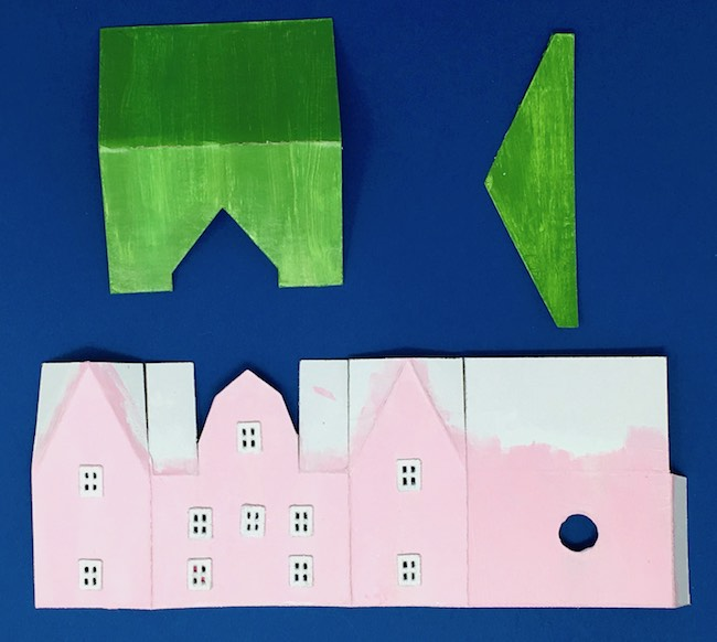 Cardboard pieces for barn shape front gable christmas house