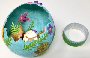 Cardboard ring to support paper mache egg