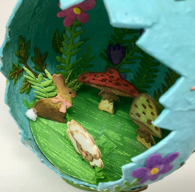 Cardboard supports for Easter lamb on paper mache Easter egg
