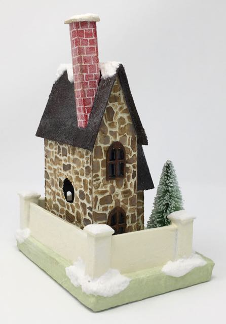 Christmas Farmhouse paper house Chimney from the back view