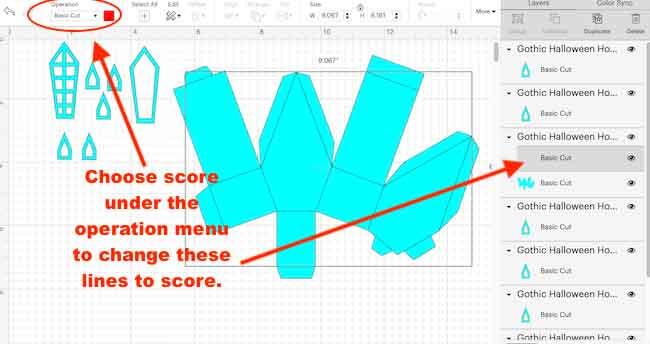 Choose score under operations menu for score lines
