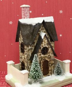 Christmas Farmhouse paper house putz house for Christmas