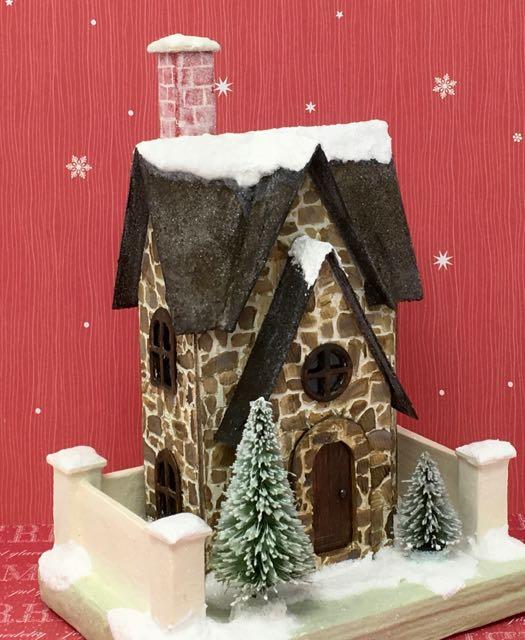 Christmas Farmhouse paper house putz house for Christmas