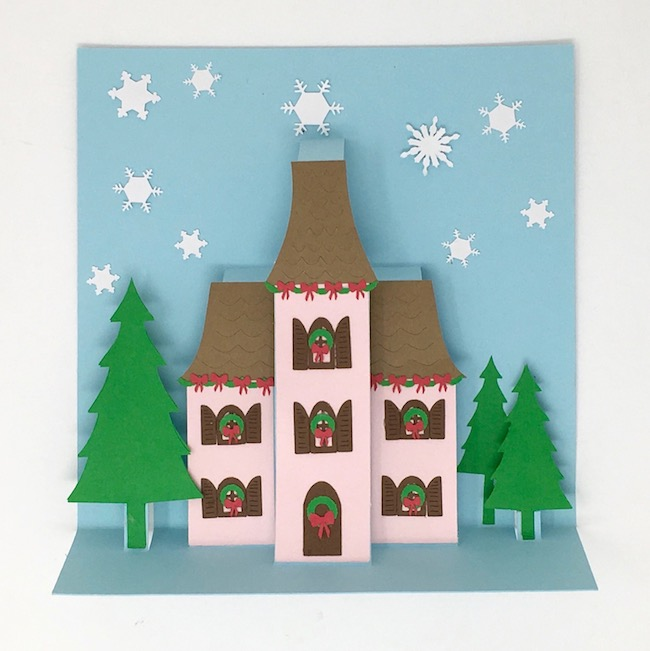 Christmas Holiday Manor Pop-up card