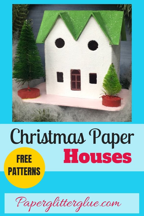 How to make a cute little Christmas Putz house with twin gables in the front with these free patterns. Great little house to add to your Christmas village