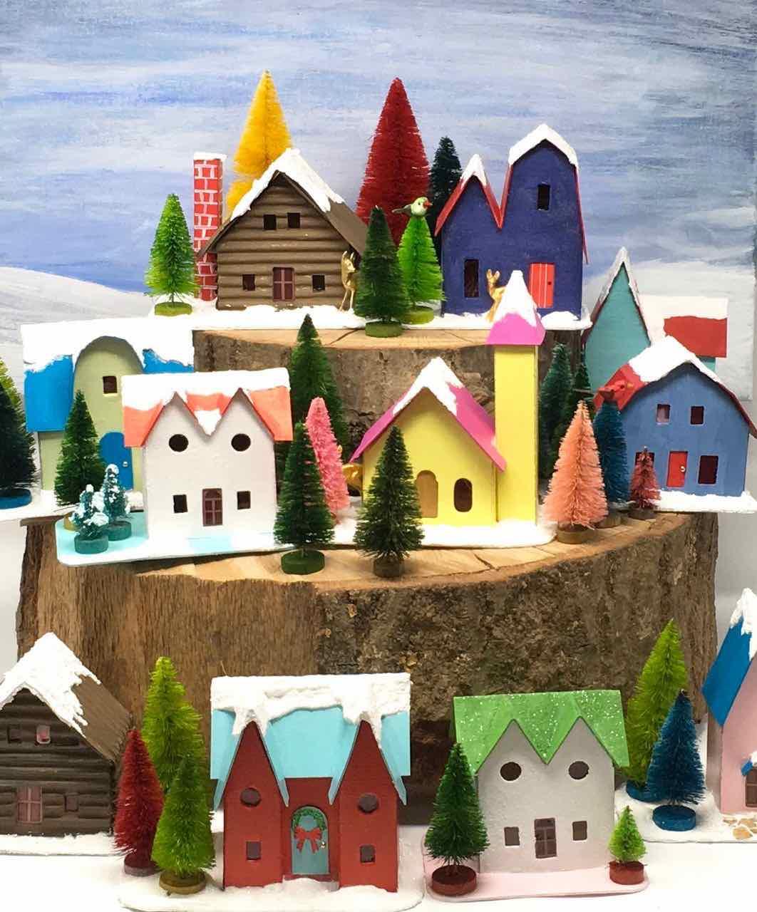 Christmas Houses Village.12 Houses For Christmas Challenge Paper Glitter Glue