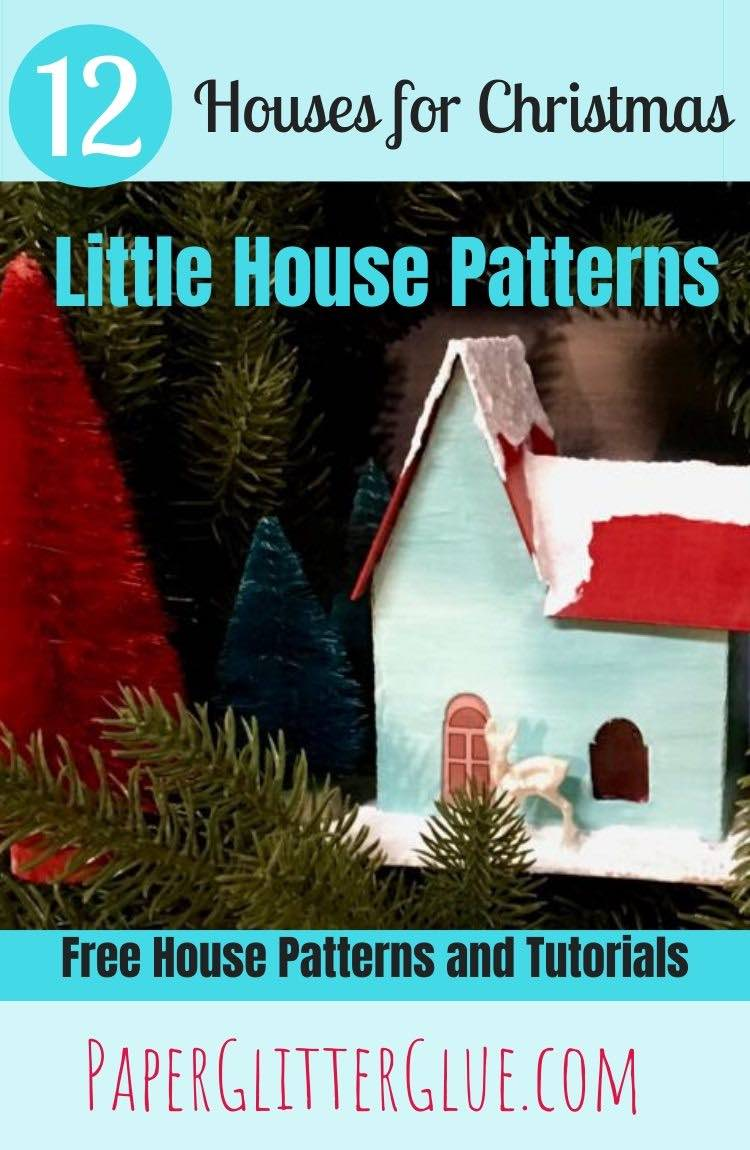 Christmas Putz house red and teal paper house