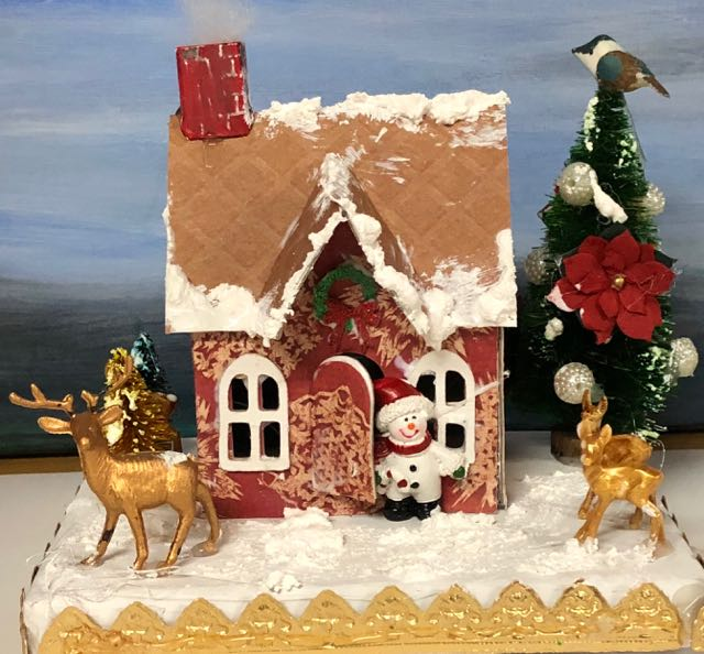 Christmas Village Dwelling Putz house craft party gold trim on base