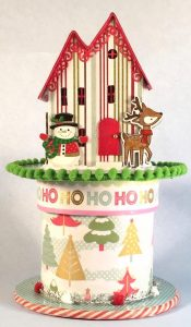 Christmas gift house on ribbon roll box