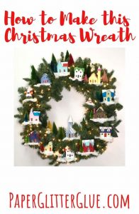 Christmas winter village wreath miniature houses