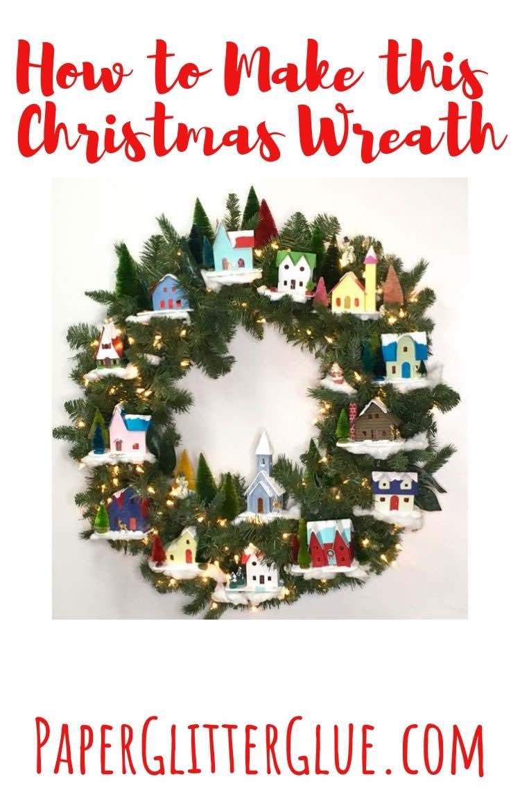 Christmas winter village wreath miniature houses