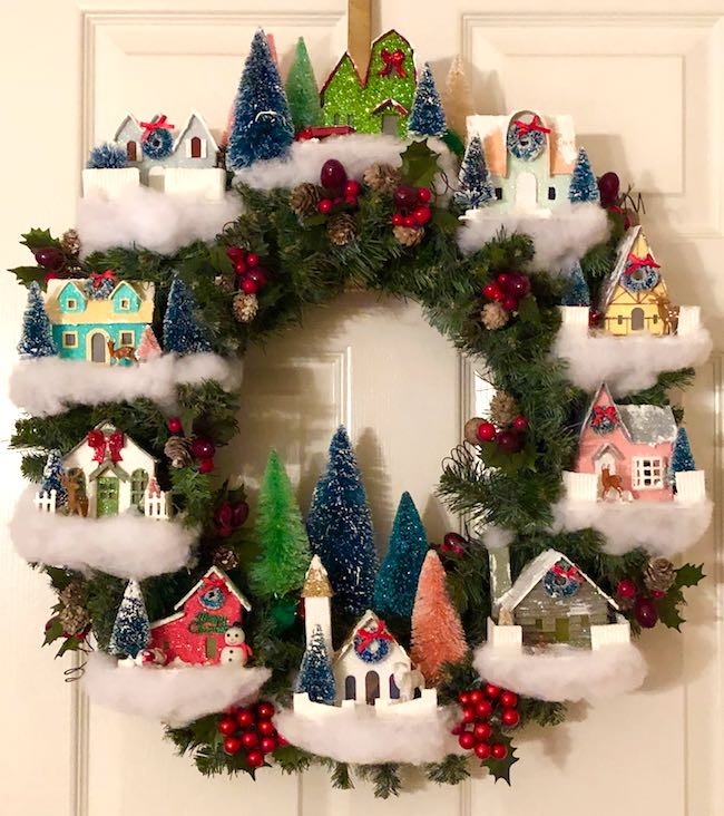 Christmas village wreath in miniature paper glitter houses from Iris
