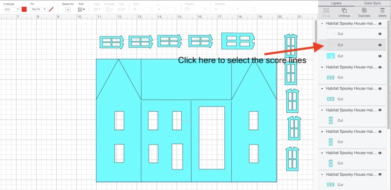 Click on score lines in right menu in Design Space