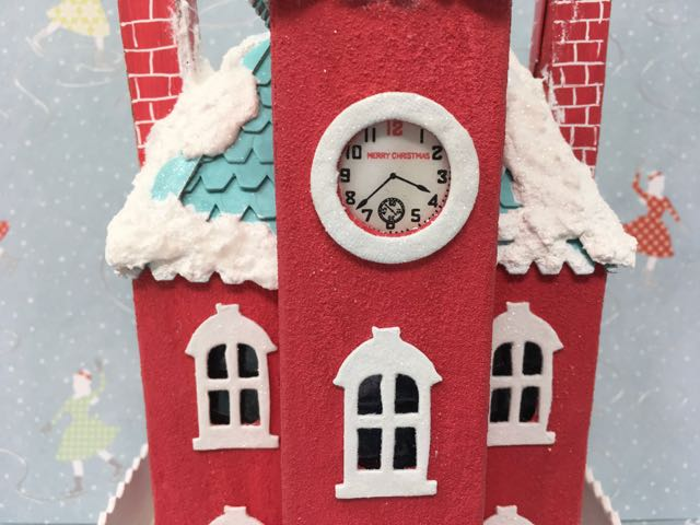 Clock Close-up Kelly's Christmas Clockhouse #putzhouse #papercraft