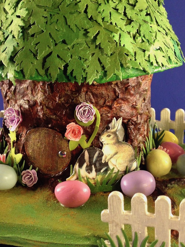 Close up of Tree Stump Easter house
