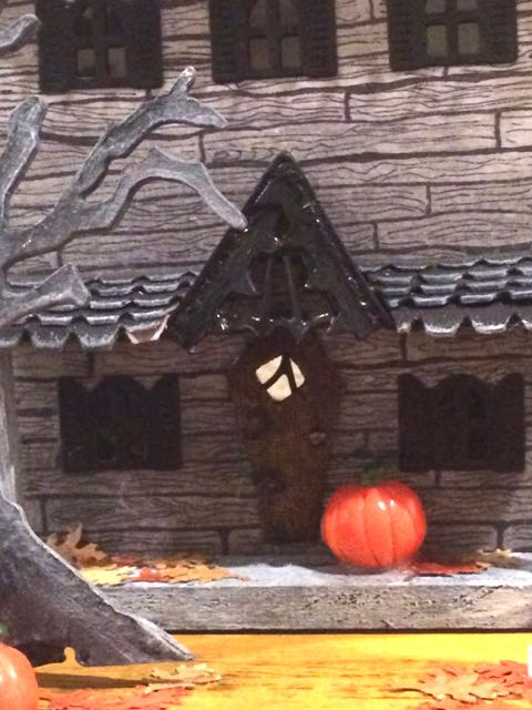 Close-up of coffin-shaped door for Widow's Walk Halloween House