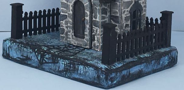 Greystone Clock House Halloween House Close-up of fence and base #halloweenputzhouse #paperpattern #papercraft