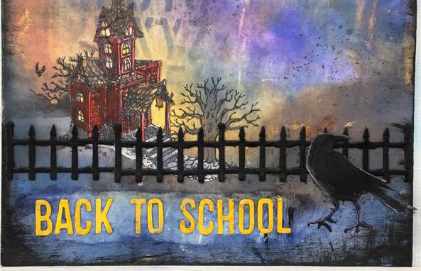 Halloween decorative elements for the Back to School Halloween bus raven, fence, back to school
