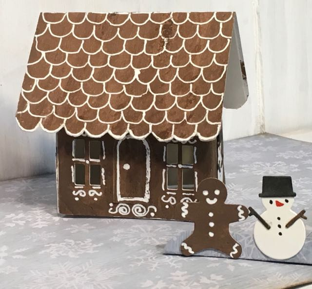 Gingerbread House pop-up card with a gingerbread man and snowman in front #gingerbreadhouse #christmascard #popupcard #papercraft