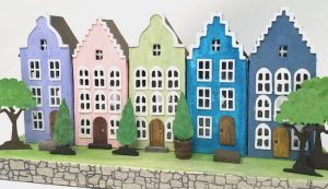 Colorful row Dutch canal putz houses