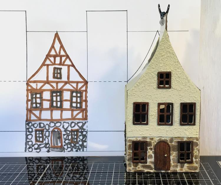 Compare Christmas Village House to preliminary drawing