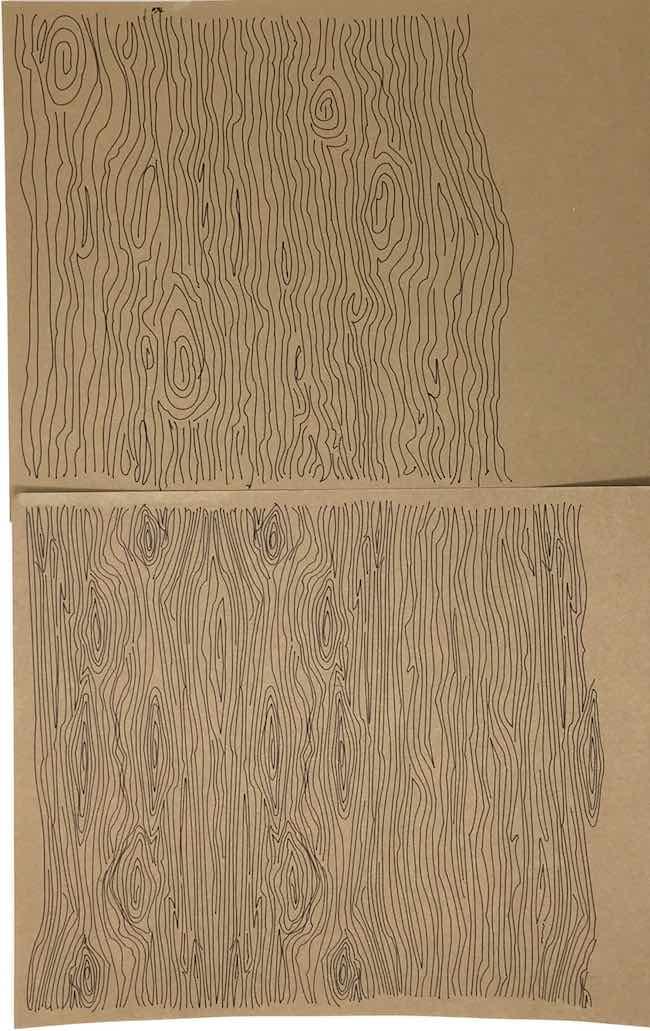 Comparison 2 wood grain drawings