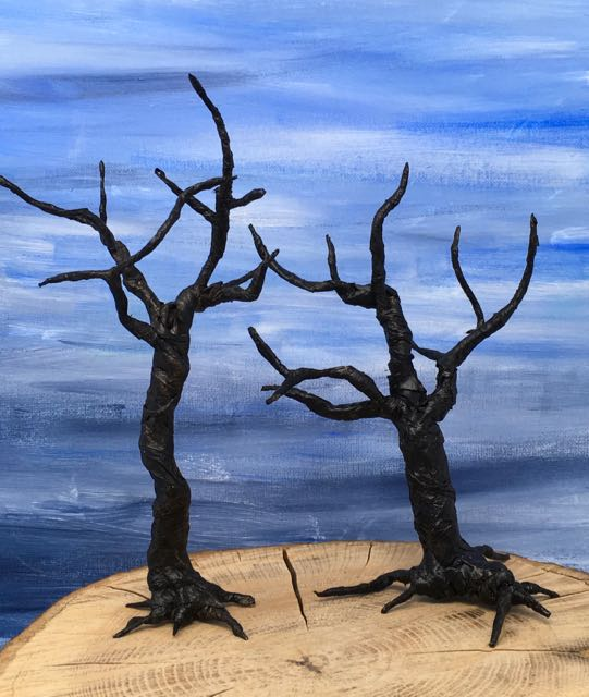 Painted miniature twisted trees for Halloween decor