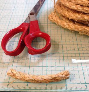 Cut Sisal rope segments for bottle brush trees