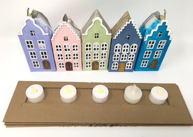 Cut space for LED lights on cardboard base