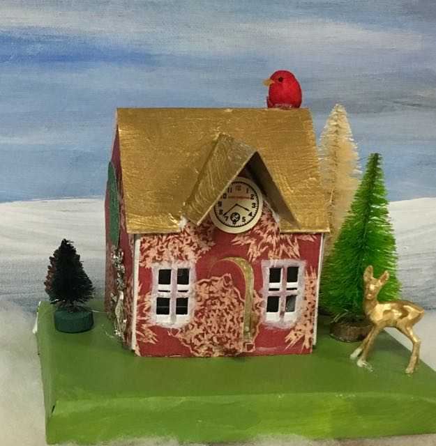 Cute gold roof Village Dwelling with clock in front gable