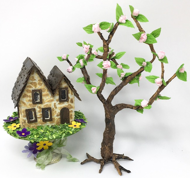 DIY Cherry Blossom tree with irish stone cottage