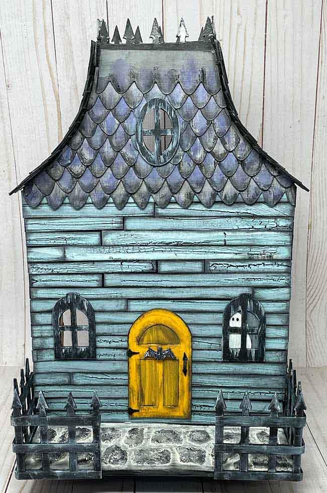 DIY Halloween dollhouse with door in place