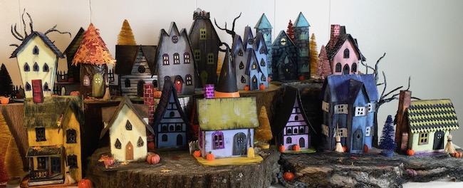 Make Halloween Village of mini halloween houses