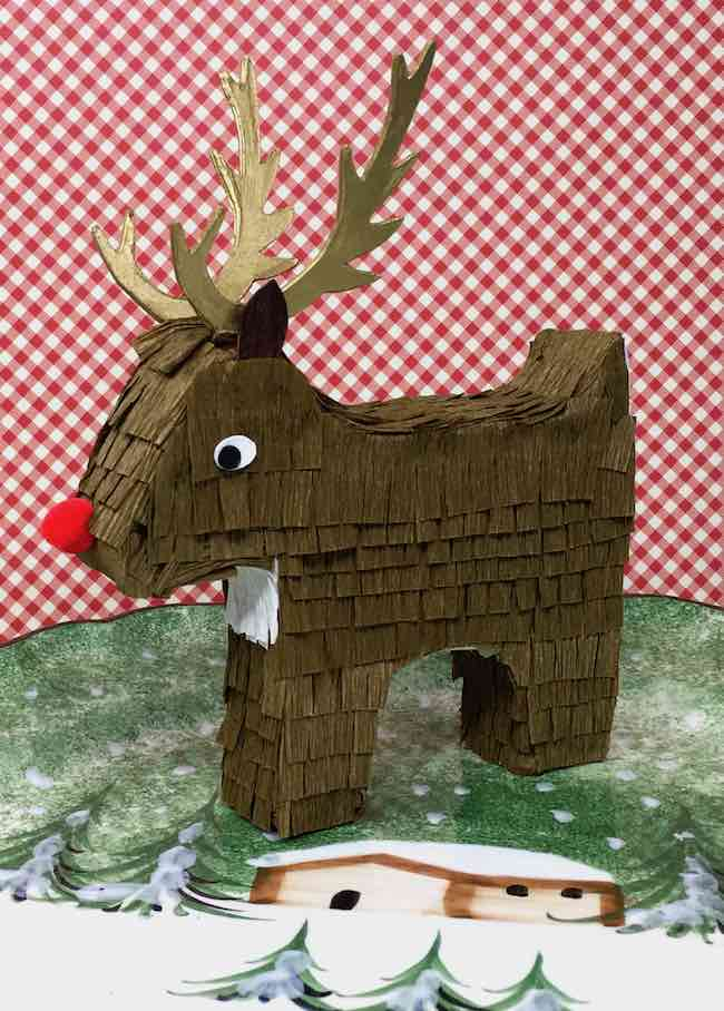 DIY Happy Hollydeer Reindeer Candy Box pinata