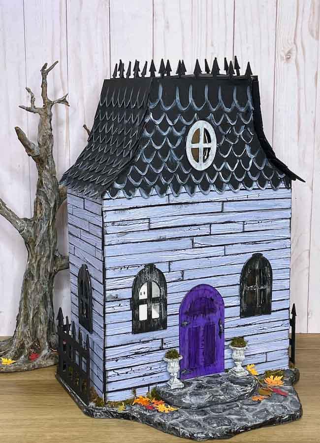 DIY Haunted Halloween Dollhouse with purple door