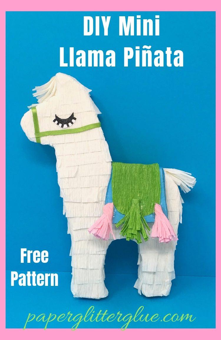 DIY Mini Llama pinata free pattern paperglitterglue
