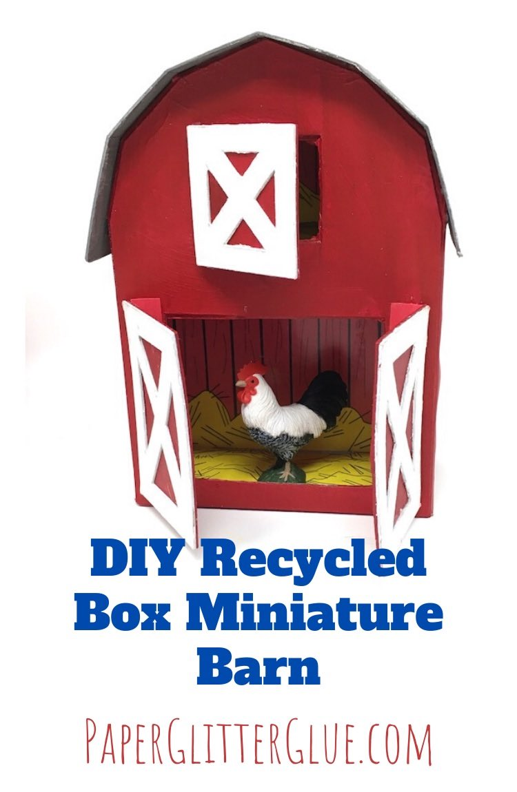DIY Recycled Box Miniature Barn