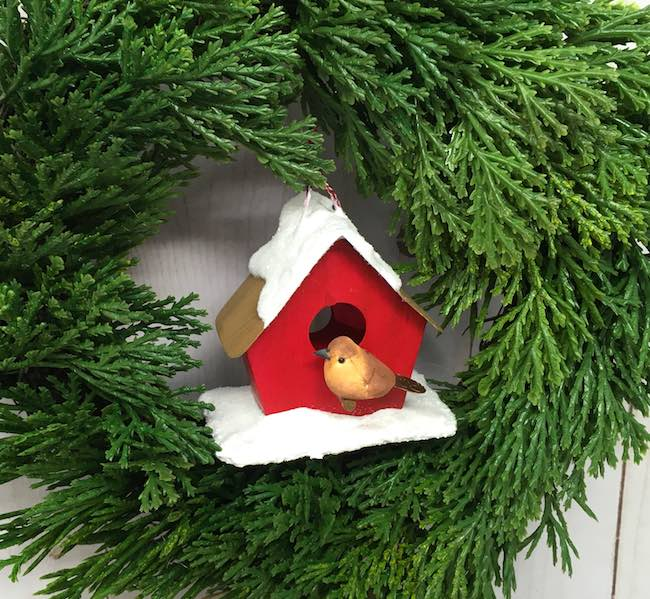 DIY Red birdhouse ornament with yellow bird