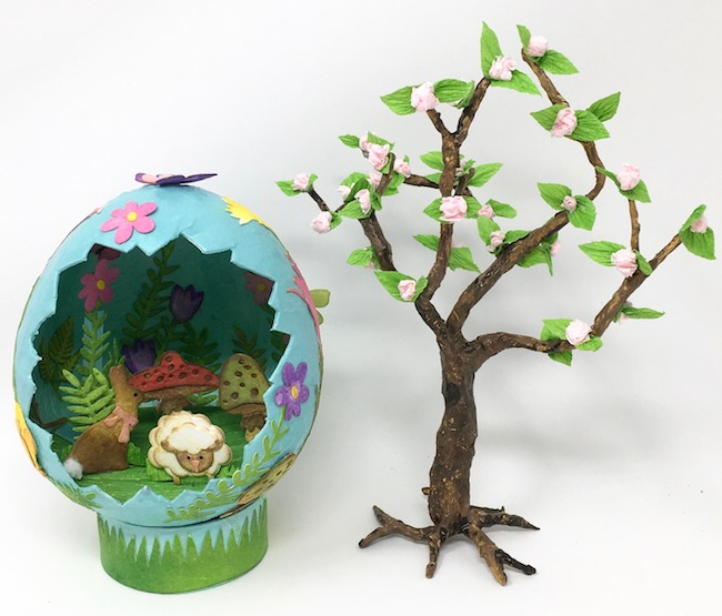 DIY cherry blossom paper tree with paper mache egg display