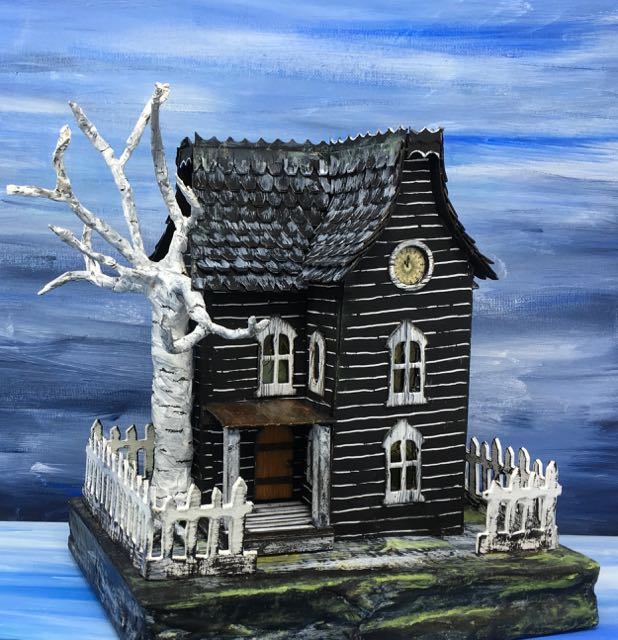 Davenport Hall another Halloween paper house with skeletal birch twisted tree