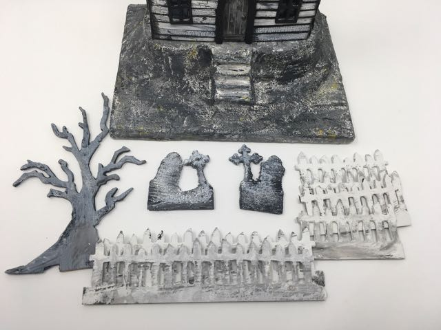 Decorative elements silver roof haunted Halloween house #putzhouse #halloween #papercraft