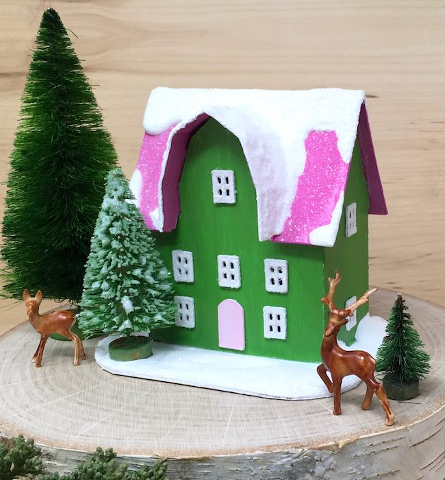 Deer with tree Barn shaped Front Gable Christmas house