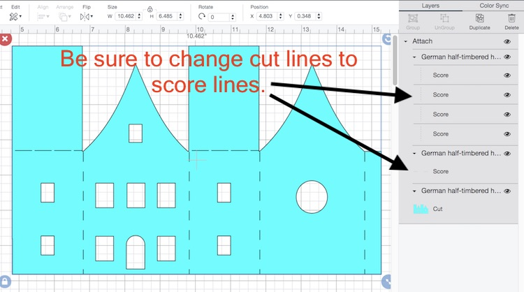 Design Space score lines for German Half Timbered Paper House