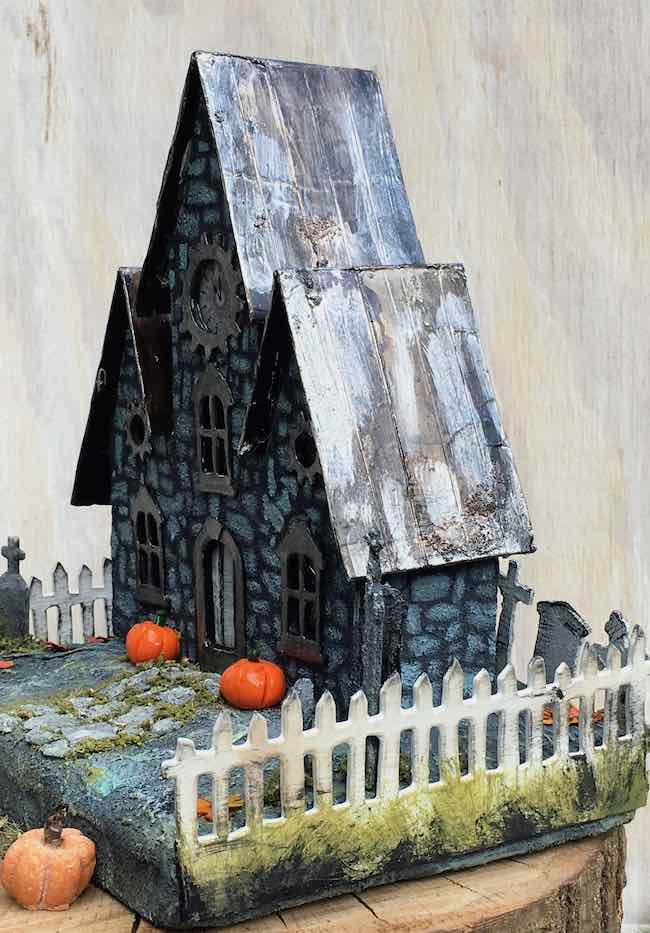 Distress metal roof Spooky Halloween House