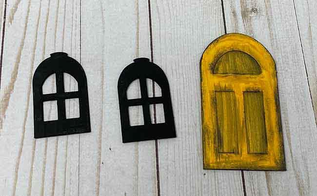 Distressed front door window frames
