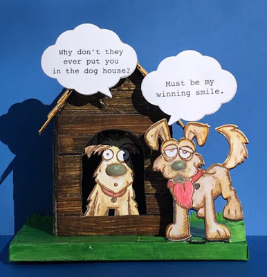 Little cardboard doghouse with Tim Holtz Crazy dogs